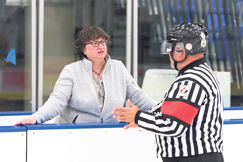 University of Regina researcher Kim Dorsch is working with hockey referees to achieve better outcomes through mental performance training. SUPPLIED