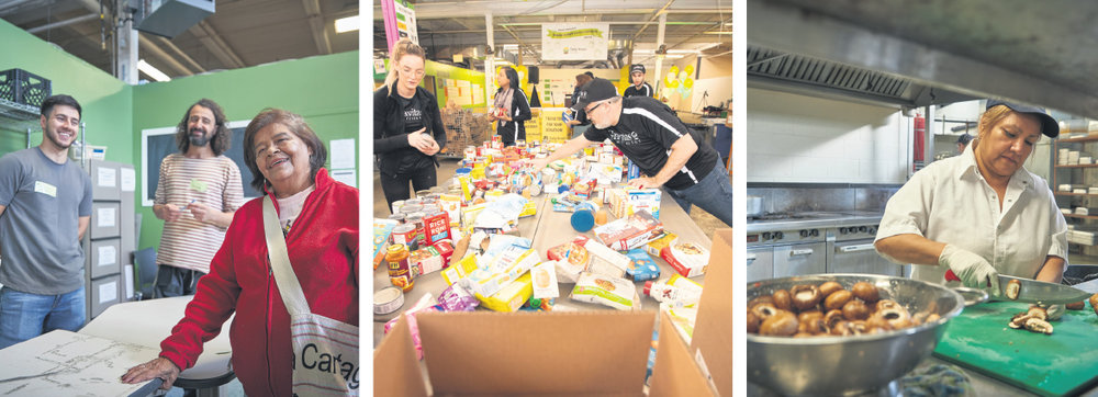 At Daily Bread Food Bank, one of Canada's largest hunger-relief organizations, volunteers help process millions of pounds of food every year.  supplied