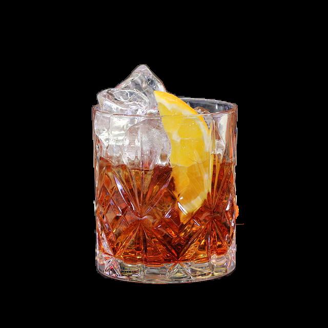 Negroni   1 oz de Dry Gin                           1 oz de  Campari bitter                     1 oz de Vermouth rouge                   1 quartier d'orange                      Glaçons