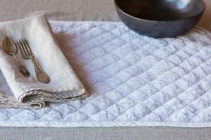White Quilted Satin Velvet