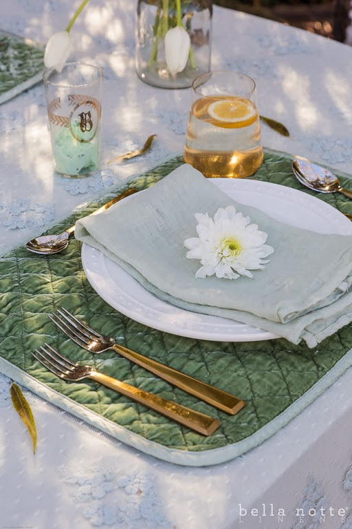 Mint Quilted Satin Velvet Placemat and Mint Linen Napkin