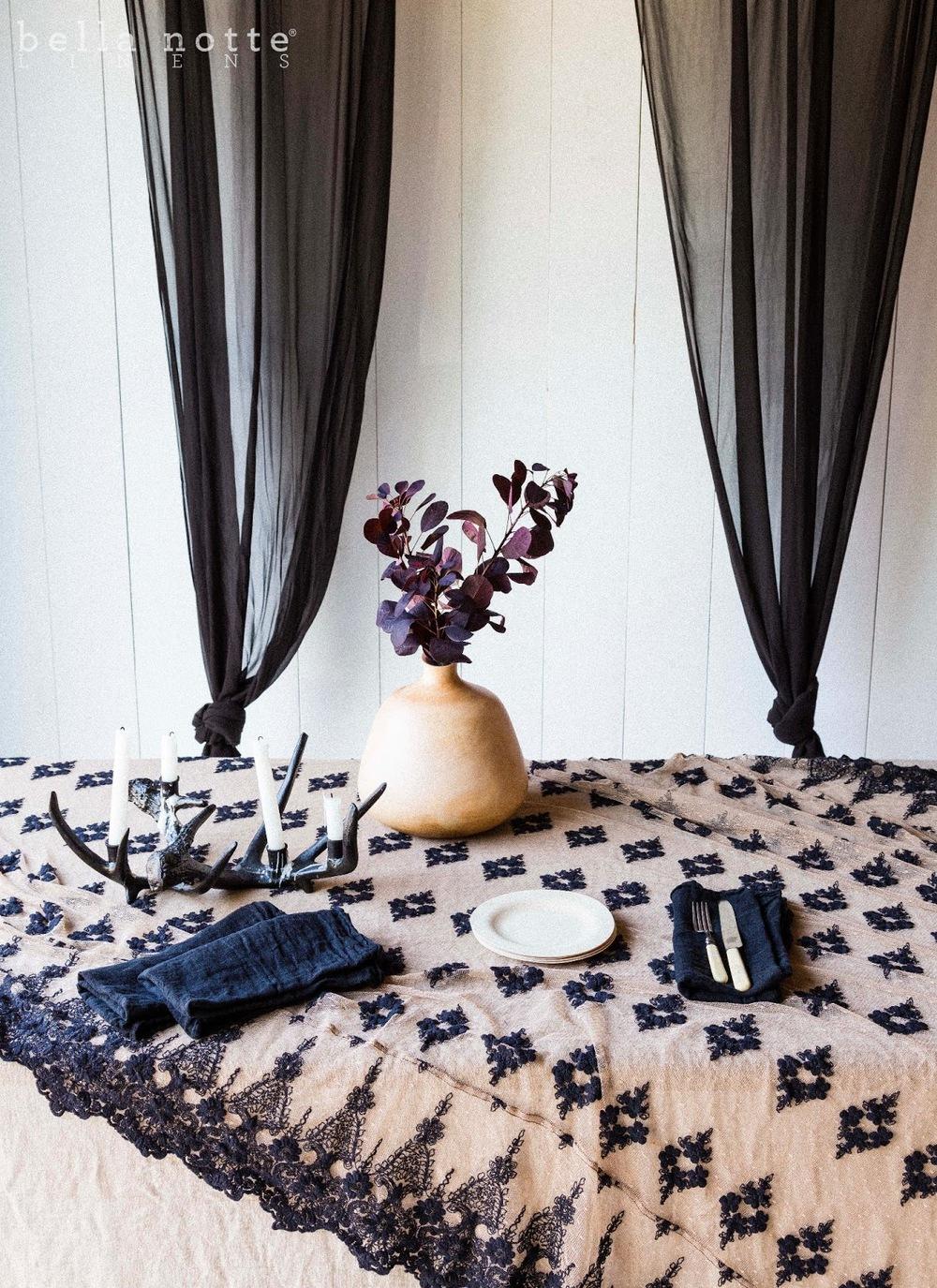 Ebony Olivia Lace Tablecloth