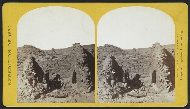 "Timothy O'Sullivan ""Characteristic ruin, of the Pueblo San Juan, New Mexico, on the north bank of the San Juan River, about 15 miles west of the mouth of Cañon Largo"" 1874 — Library of Congress"