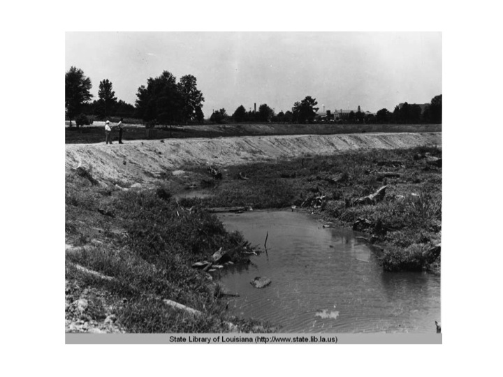 Site of future construction of lake and road at the lakes in 1936.