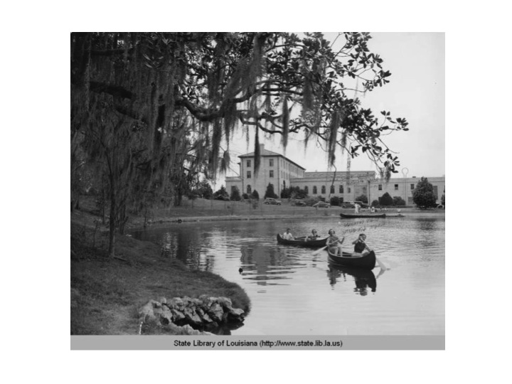 This picture is not on the lakes. Instead, it's on a water body that was next to the Huey Long Field House on the LSU campus. LSU's existing tennis facility is down the hill and the area is now a dorm.