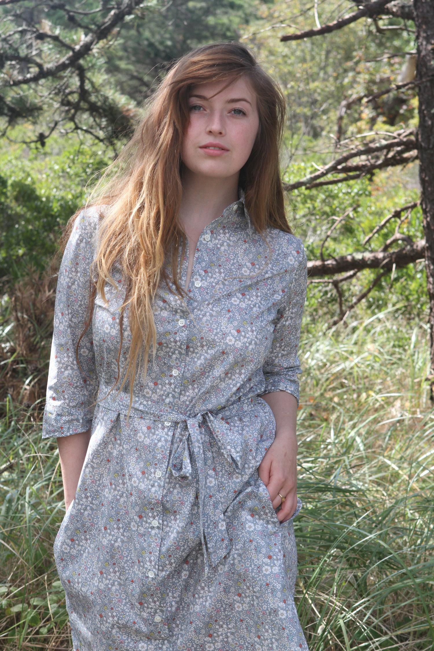 Shirt Dress In Grey Junes Meadow Sailor Rose