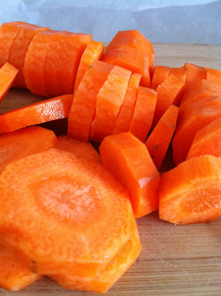 Carrots sliced into thick carrot coins
