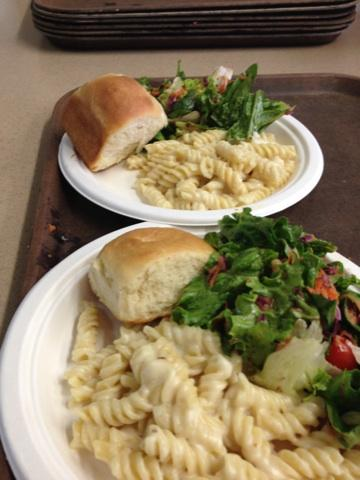 Macaroni & Cheese, Tossed Salad and Rolls served at Community Kettle Dinner