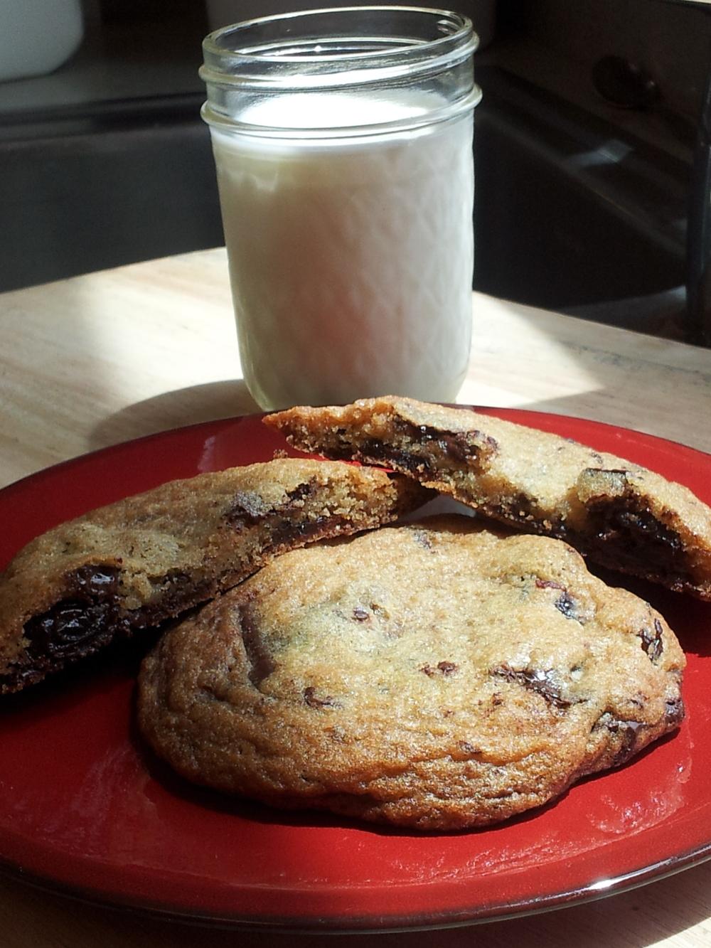 Chocolate Cherry Chunk Cookie and Raw Milk- Yum!