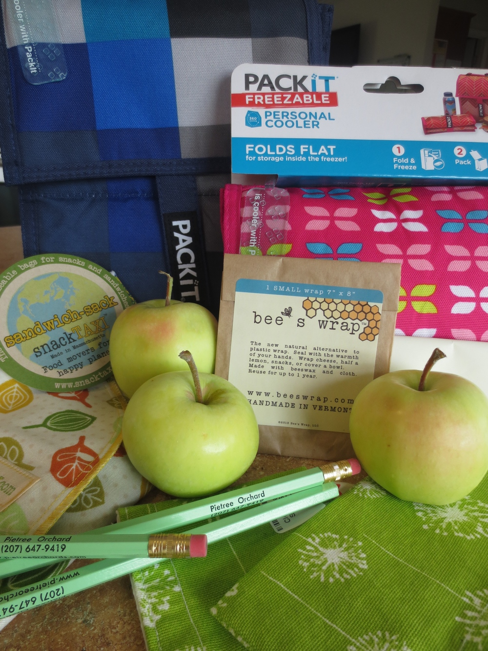Back to School with Pietree Orchard! Here are Some of the Items to be Raffled Off August 16th and 17th: Bee's Wrap, Snack Taxis, Pencils, LunchBoxes, Freeze Packs and More!