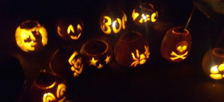 A lineup of pumpkins made with pattens from a pumpkin carving kit at a staff member's pumpkin carving party!