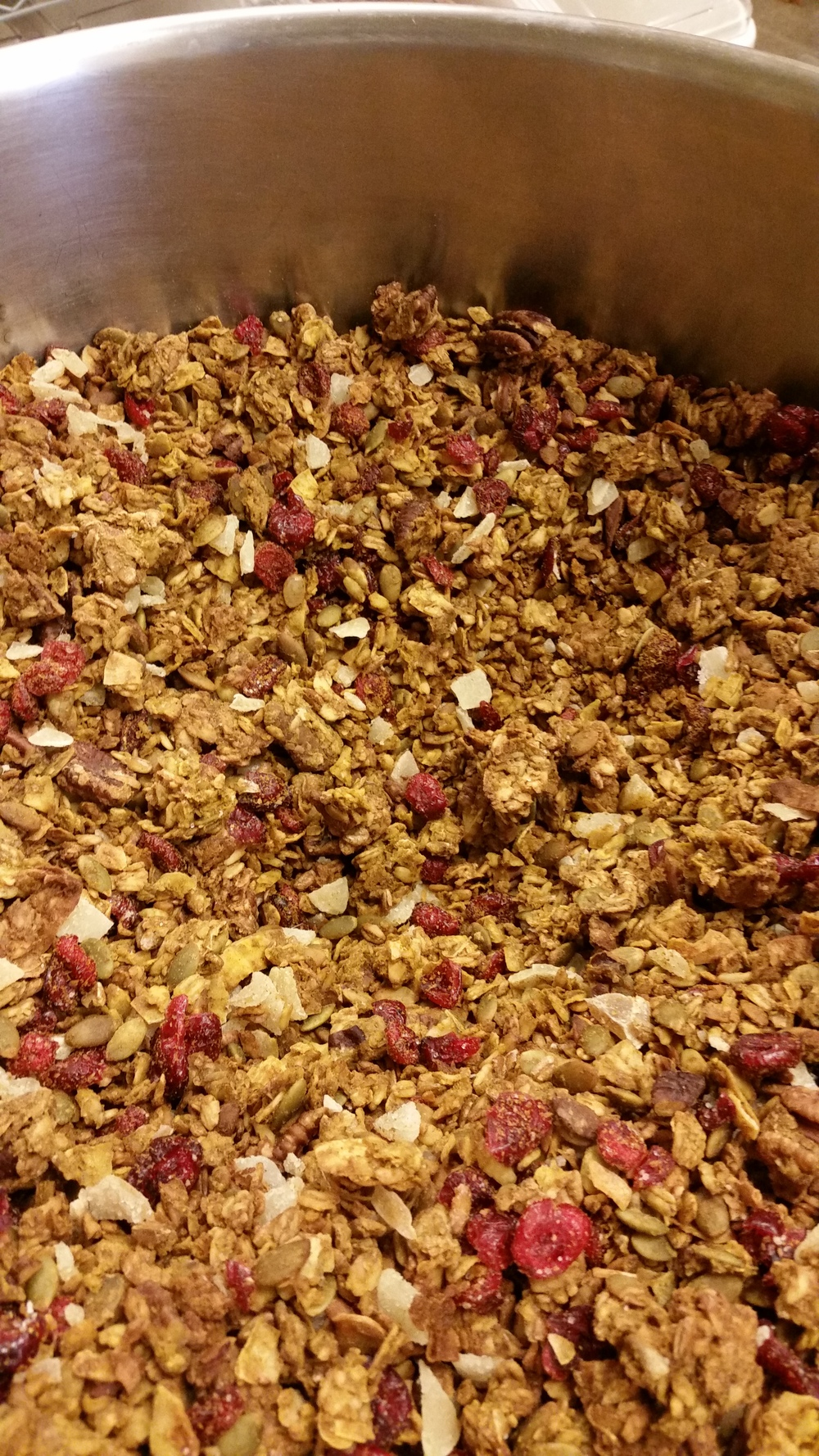 Fresh batch of pumpkin cranberry granola- YUM!