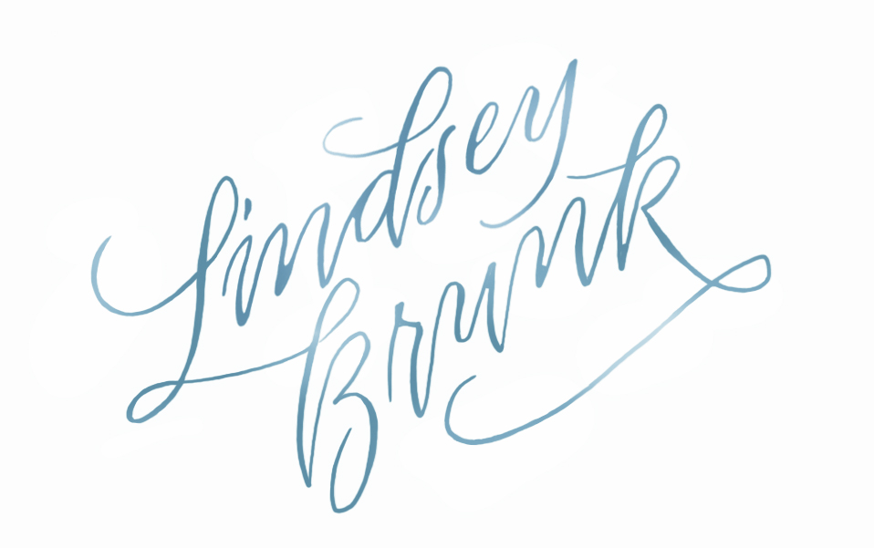 I just finished the branding logo for wedding stylist Lindsey Brunk. I love how it turned out. I can't wait to see it on the website and business cards.  On top of being a styling genius, Lindsey also manages the social media for Availender, a marketing website for wedding vendors. Some of my calligraphy was just featured on their blog. You can see it here.