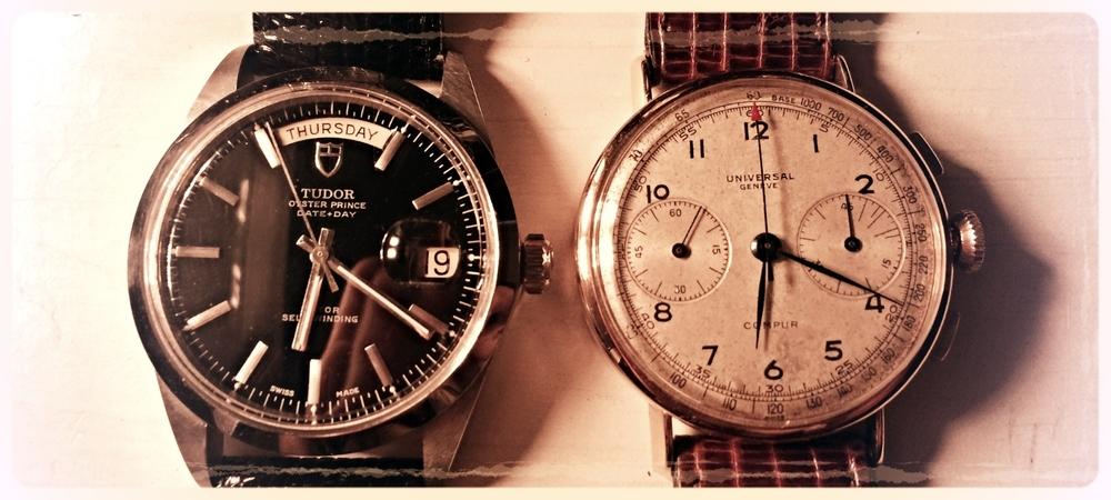 Tudor Date-Day 7017 Jumbo & Universal Geneve Compur Chronograph ca.1941