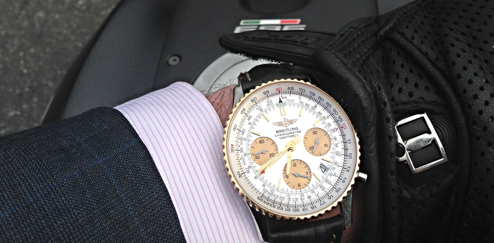 Jonathan's Breitling Navitimer taking a ride on his Ducati 696.