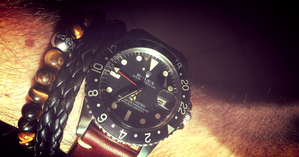MadyByBerg tiger's eye, Tod's leather braided bracelet and a 1675 Rolex GMT
