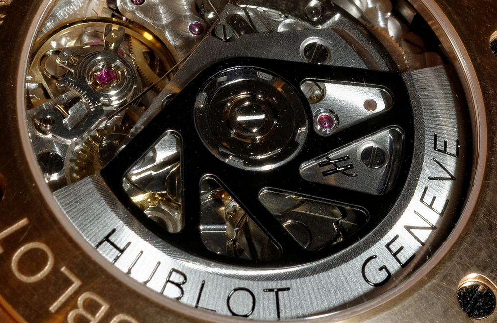 A Hublot modified Valjoux 7750. You can buy your own for $450, or buy theirs for $15,000.