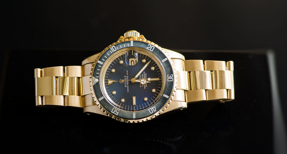1680 nipple dial 18k gold submariner with faded bezel.