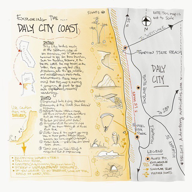 Exploring the Daly City coast.... Link to slightly larger map in bio. #austinsatlas #handdrawnmaps