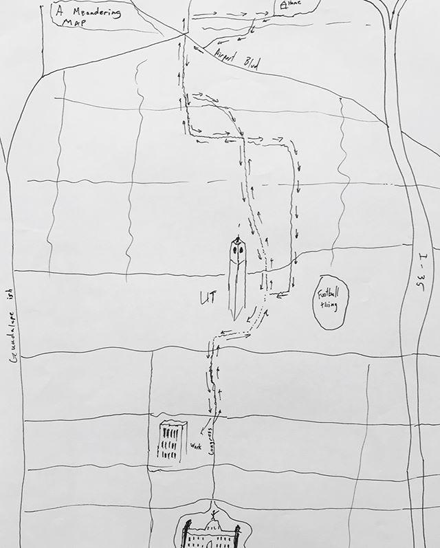 Commute maps collected at one of our Hand-drawn Map workshops with MaptimeATX, circa 2015. #austinsatlas #handdrawnmaps