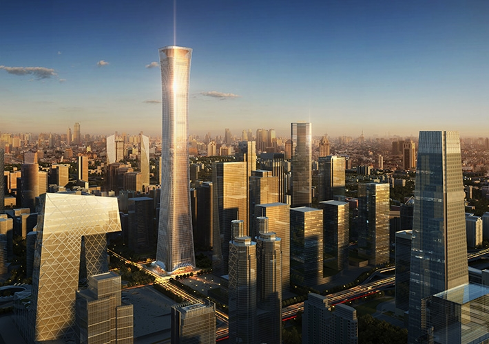 Designed by Kohn Pedersen Fox, at 1,732 ft, the new China Zun Tower dominates Beijing's business district.