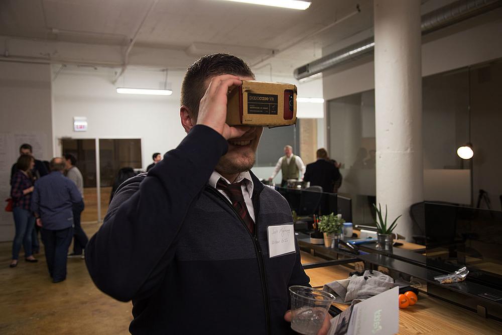 Josh Maglasang of  Urban GIS  takes Google Cardboard for a test drive.