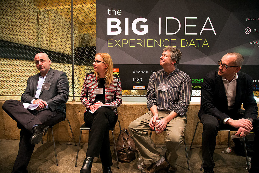 Our stellar speakers (from left): John Tolva, Petra Stieninger, Charlie Catlett, and Euro Beinat.
