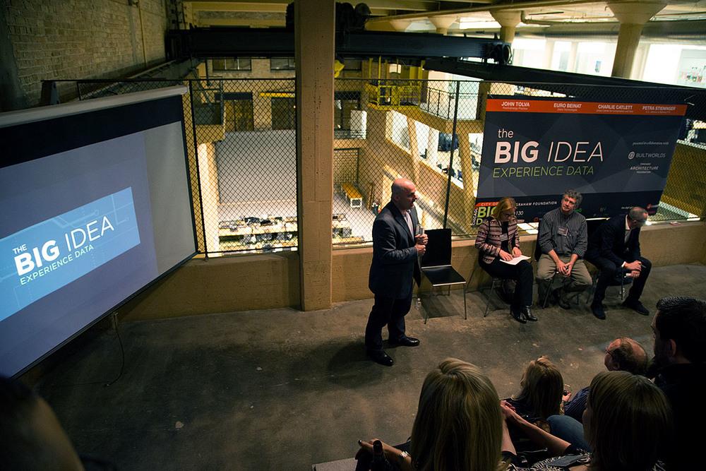 John Tolva (left) addresses the Big Data audience Tuesday night