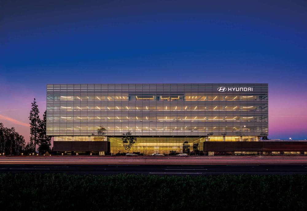 "A CAMPUS THAT CONNECTS — Hyundai Motor America, Fountain Valley, CA.  Corporate campuses are shedding their stodgy image as disconnected, disparate buildings. By consolidating operations ""under one roof,"" companies maximize interactions, foster collaboration and innovation, and promote a sense of community."