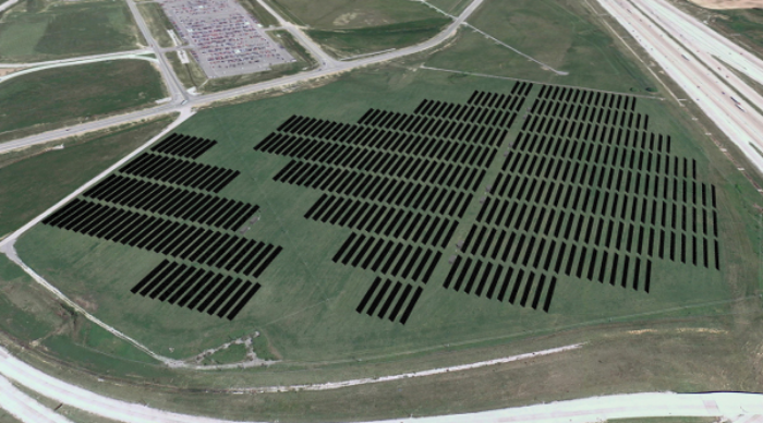 Experts say wide open spaces around airports are ideal for collecting solar energy.  (Photo: Johnson Melloh Solutions)