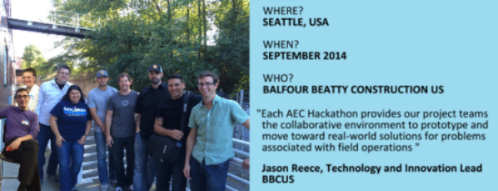 Winning top overall honors at Seattle's AEC Hackathon, Balfour Beatty's Team BuildTrak came together with hackers from Newforma and Microsoft to develop a mobile production reporting and tracking app built on Newforma project information management (PIM) software.