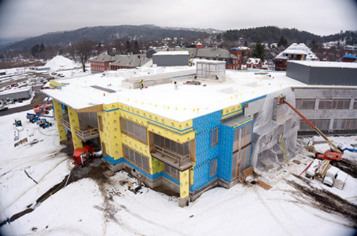 DRONE'S EYE VIEW: Waterbury (VT) State Office Complex construction site in December.