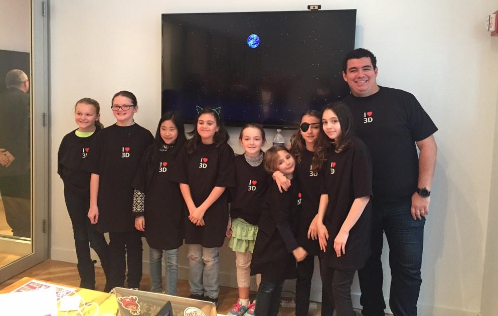 The author, at right, with members of the Futuristas, a budding group of young female STEM innovators.