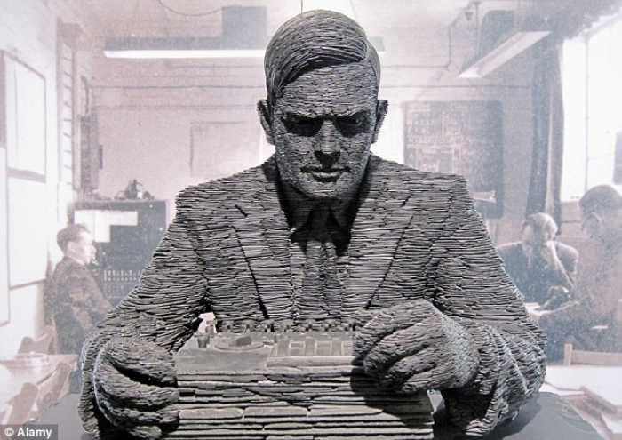This statue of Alan Turing sits at Bletchley Park, some 50 milesnorthwest of London. His contributions there during WWII helped break theNaziEnigma code andare depicted in the Oscar-nominated filmThe Imitation Game.