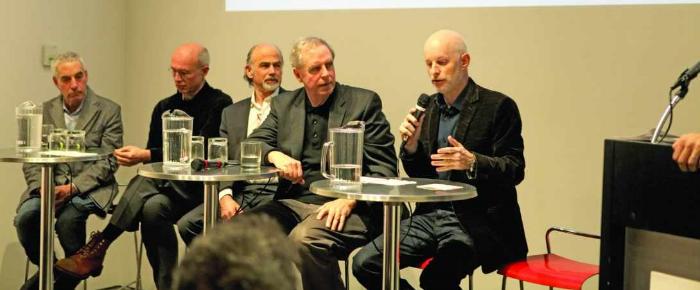 From left,Jeff Brown, Jim Garrison, the author, Stephen Kieran, Chris Sharples (SHoP).Photo: Real Estate Weekly
