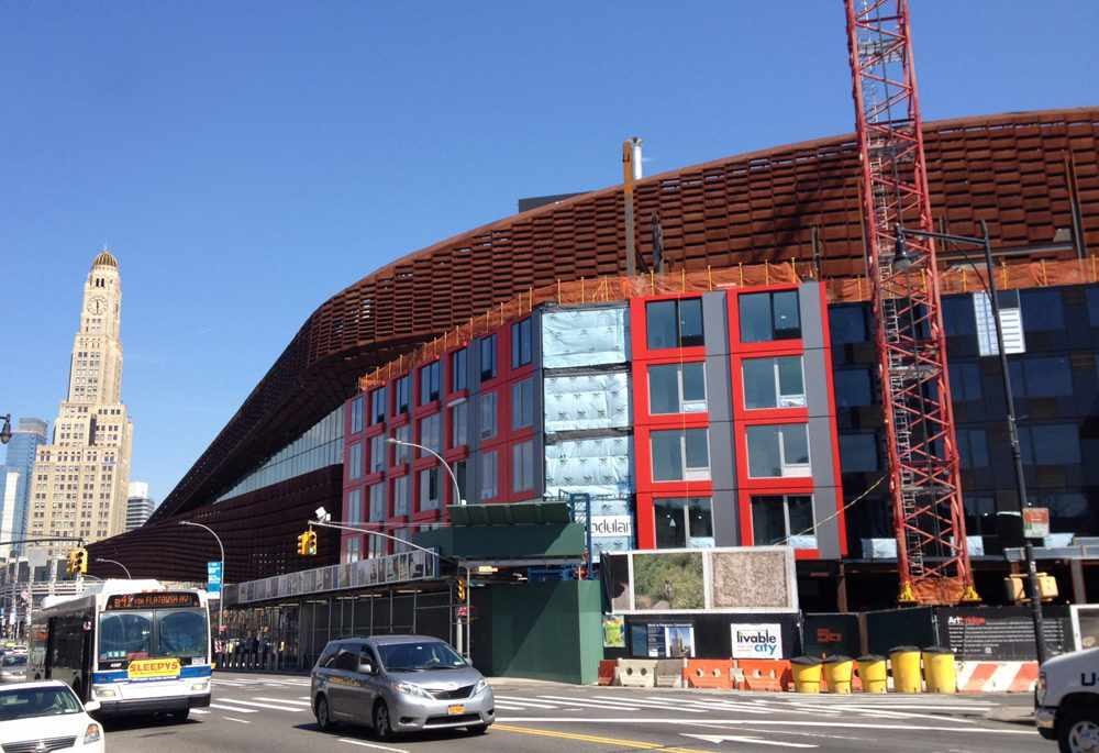 Modular Residential Tower in Atlantic Yards, designed by SHoP Architects, is now rising again after a shutdown.