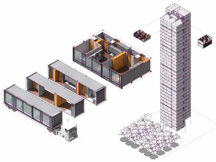 Working with GBM, FXFOWLEre-fashioned standard shipping containers intohigh-rise building components.