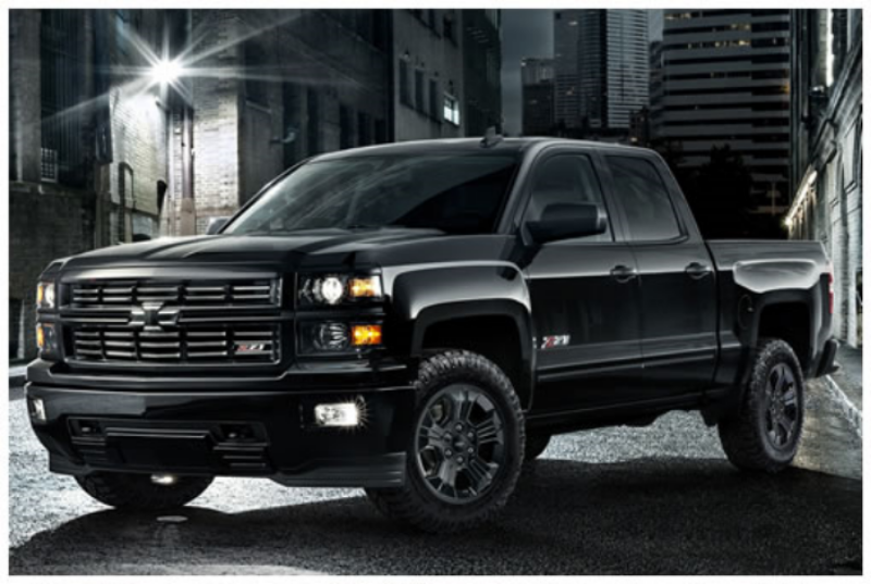 If Batman hada truck, he would probably trade it in forthe 2015 Chevrolet Silverado Midnight Edition.