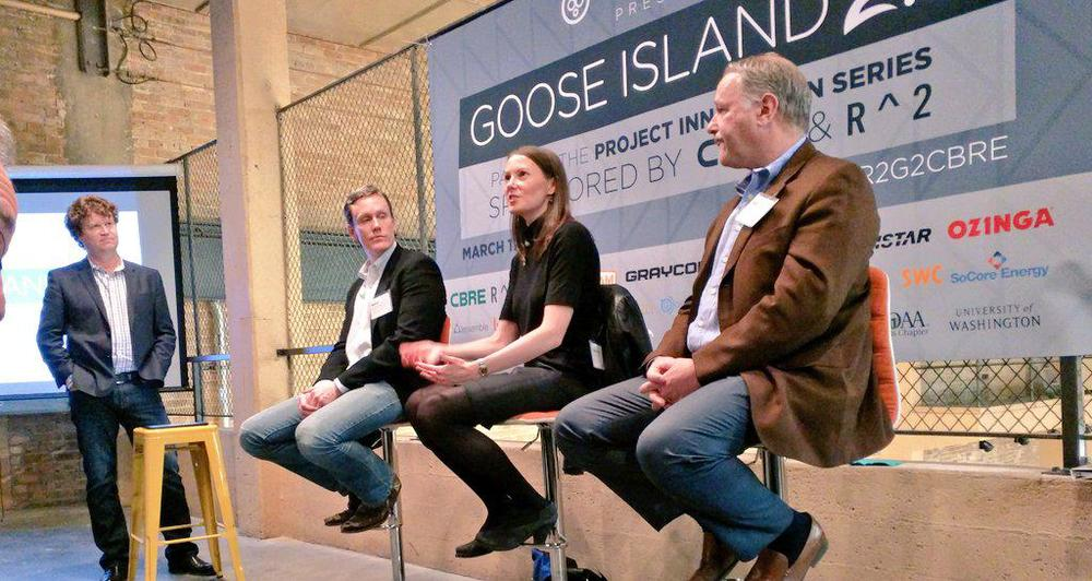 UI Labs'Caralynn Nowinski visited BuiltWorlds last week for Goose Island 2.0. She is flanked by R2's Matt Garrison onher right, and Structured Development'sMike Drew. Standing: CBRE's Dan Lyne. (Photo: Marty Malone.)
