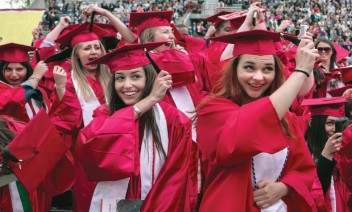 Engineering graduates last spring at Miami University in Oxford, OH, celebrate the ceremonial 'turning of the tassel'.