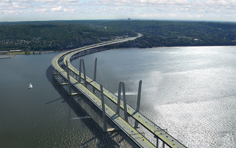 Spanning the Hudson River, the first half of the $3.9B replacement Tappan Zee Bridge is scheduled to open in 2016 -- the second span in 2018. It is being designed & built by Tappan Zee Constructors, an all-star consortium that includes Fluor, American Bridge, Granite, and Traylor Bros., along with design firms HDR, Buckland & Taylor, GZA, and URS (now part of AECOM).