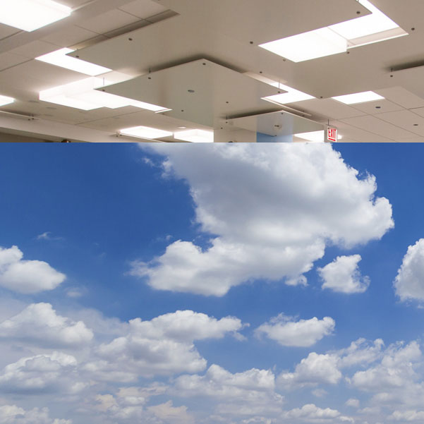 Pharmacy lighting at Walgreens Galter Pavilion, v. natural cumulus clouds.