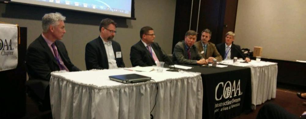 Above &beyond(from left): John Jurewicz, Walbridge; Will McConnell, HOK; Don Flight, HILL Group; York Chan, Advocate Healthcare; Chris Mattus, DIRTT, and Larry Arndt, Mortenson Construction.