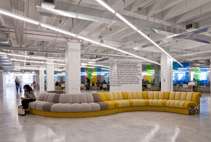 Chicago's 1871, an incubator in Chicago's Merchandise Mart, boasts partnerships with the University of Chicago and University of Illinois, and has transformed the culture of its building and urban neighborhood. (Image © Gensler)