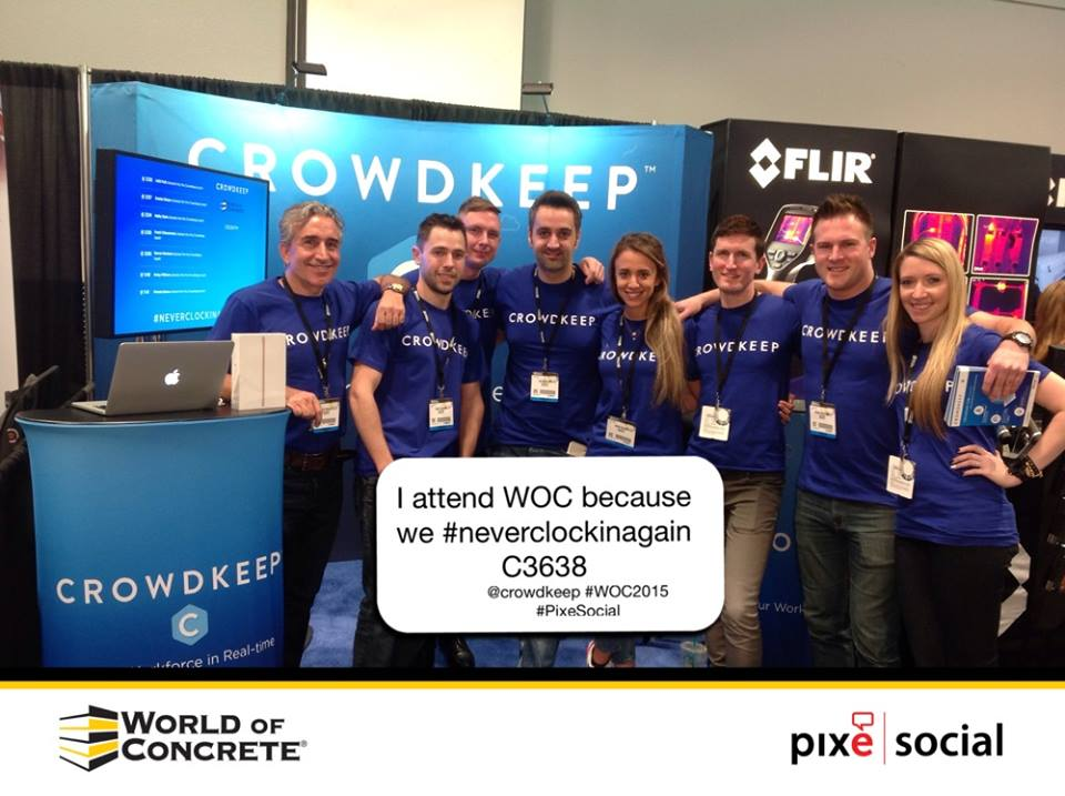 In February, the Crowdkeep crew made a splash at WOC in Las Vegas. Nickerson is second from right. At center, with his head between the E's, CEO Jad Boustany stands with fellow co-founder CTO Michael Frye (under the K).