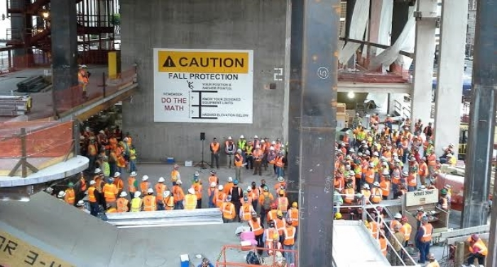 Grand audience: Workers at one of the most prominent projects in Los Angeles, the 73-story Wilshire Grand mixed-use redevelopment, gathered Monday to listen to safety messages about fall protection, PPE, and the PDCA cycle.