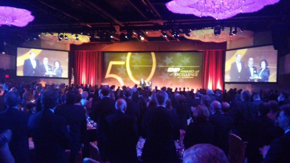 Striking a blow: Anvil CEO HT Tran, a wounded warrior, receives ENR's big award in NYC on April 16.