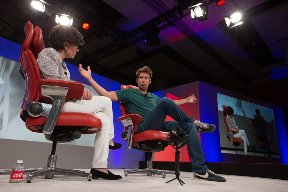 """My ambitions are thiiiiis big."" GoPro's CEO didn't actually say that, but the message was clear. (Photo by Re/code)"