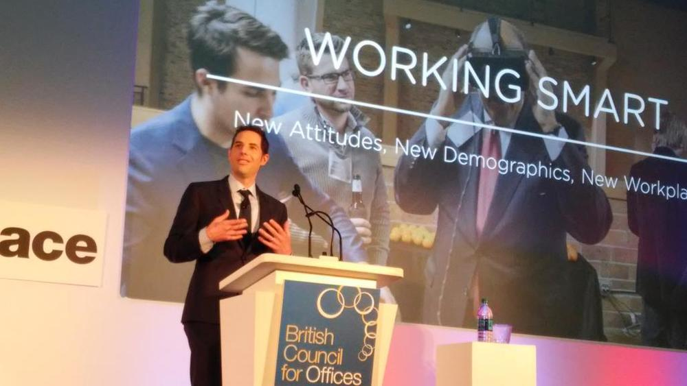 New vision: BuiltWorlds founder Matt Gray last month addressing the British Council for Offices in Chicago.