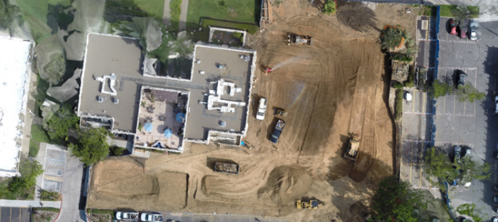 Bird's Eye Views:DPR has used drones on more than a dozen projects nationwide, including this nursing research facility at the University of San Diego. There, UAVs capture images and video to communicate project updates.